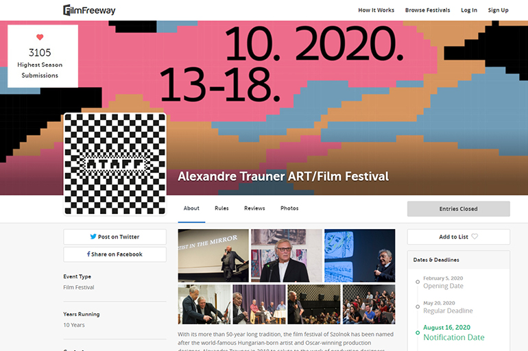 More than 3000 films were submitted to the Alexandre Trauner ART/Film Festival